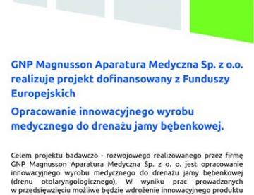 GNP Magnusson Aparatura Medyczna Sp. z o.o. realizuje projekt dofinansowany z Funduszy Europejskich