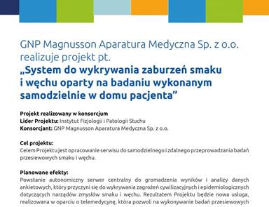 """GNP Magnusson Aparatura Medyczna Sp. z o.o. realizuje projekt pt. ,,System do wykrywania zaburzeń smaku i węchu oparty na badaniu wykonanym samodzielnie w domu pacjenta"""""""